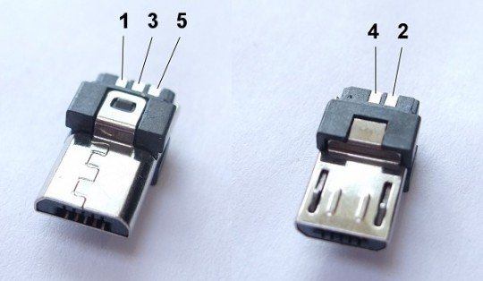Micro-USB pin-out, via http://neverstopbuilding.com/wiring-micro-usb-pinout